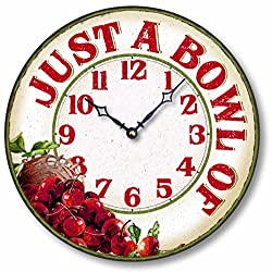 Fairy Freckles Studios Item C8902 Vintage Style 12 Inch Cherry Casual Kitchen Clock