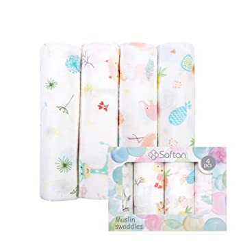 Pineapple Rabbit 70/% Bamboo 30/% Cotton Baby Receiving Blanket Swaddle Wrap for Newborns with Gift Box Dandelion Muslin Swaddle Blanket 4 Packs 47 X 47 inch Muslin Towel Flamingo
