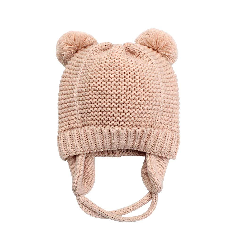 005db900b3a XIAOHAWANG Baby Boys Girls Hats Winter Cute Pompom Ears Toddler Knit Caps  Infant Earflap Beanies Fall (Pink
