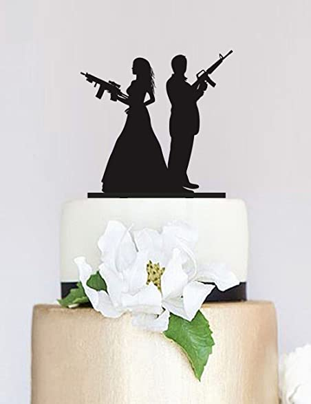Gun Wedding Topper,Armed Couple Silhouette Cake Topper,Wedding Cake Topper,Custom  Cake