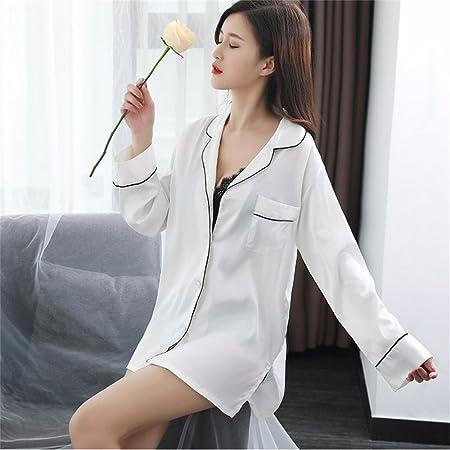 SMC Pijamas para mujer Camisa Blanca de Manga Larga Sexy Pijamas Mujeres Falda de Dormir de Verano Rebeca de Seda Satén Nueva Versión Coreana de Rayas, para 40-70kg: Amazon.es: Hogar