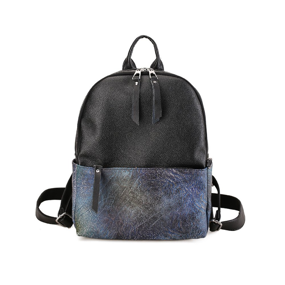 Girls Women Contrast Color PU Leather Waterproof Backpack Students School Bag Double Shoulder Backpack