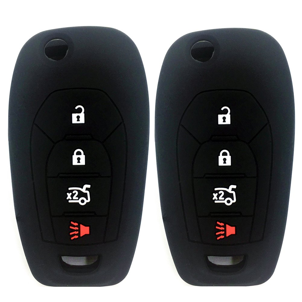 Ezzy Auto Pack 2 Black Silicone Rubber Key Fob Case Key Covers Key Jacket Skin Protectors fit for 2016 2017 Chevrolet Cruze