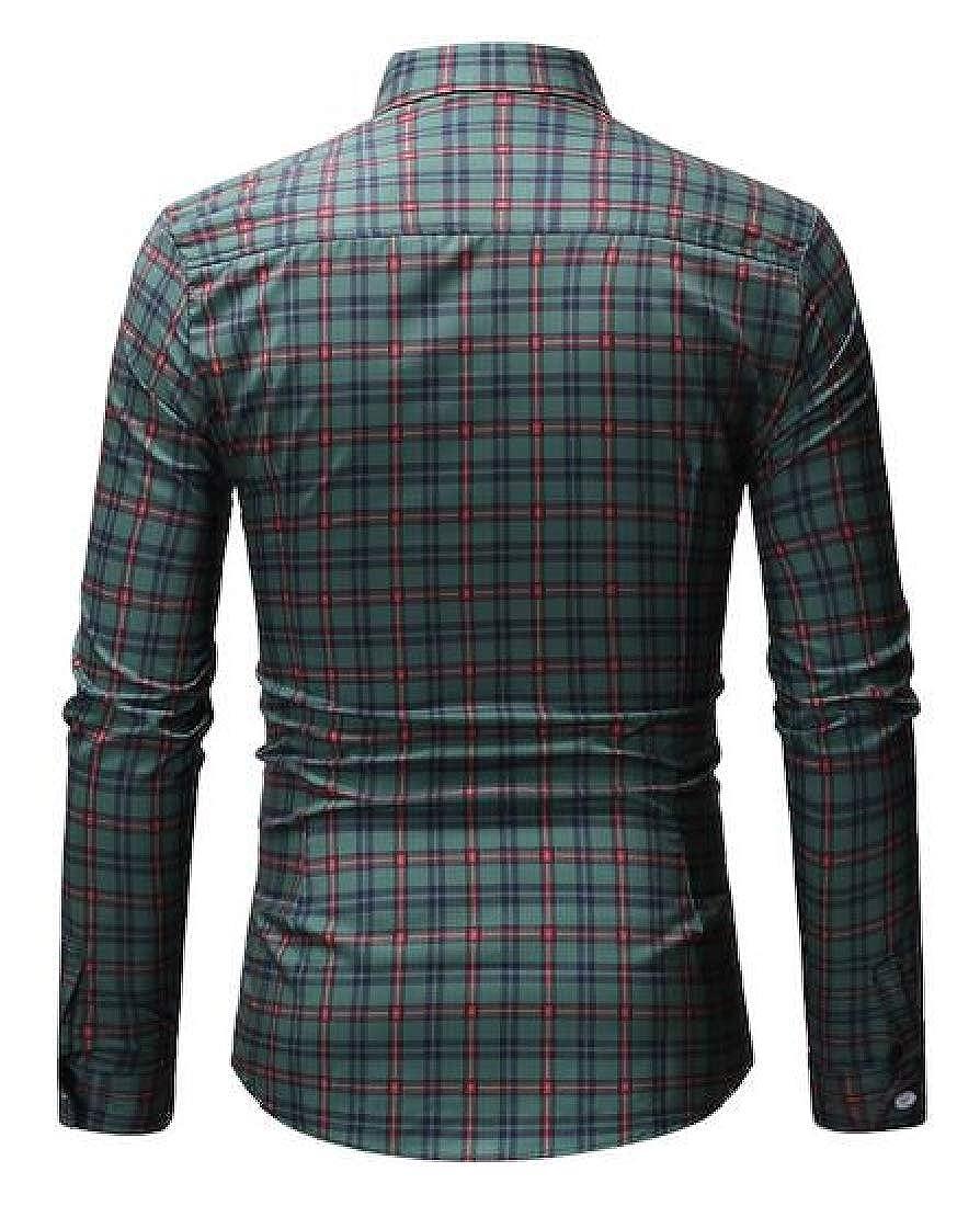 ARTFFEL Mens Long Sleeve Casual Plaid Button Up Dress Work Shirt