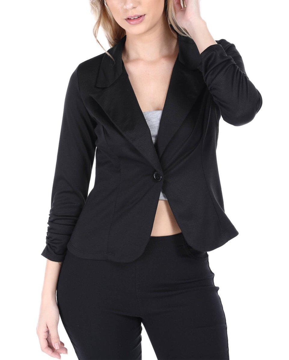Women's Casual Office Jacket (Large, Black)