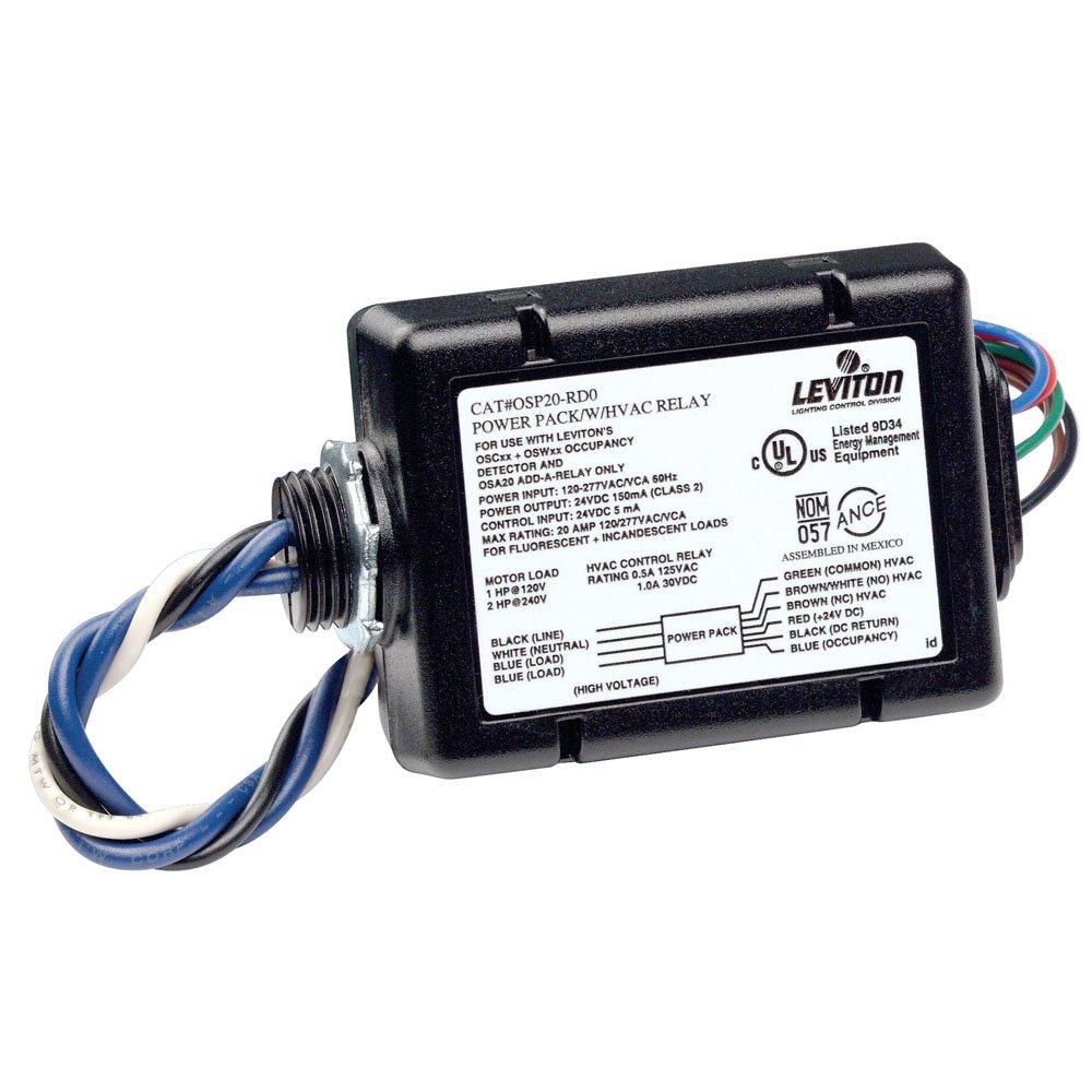 Leviton OSP15-R30 Power Pack for Occupancy Sensor with HVAC Relay, 15 Amp FL, 347VAC 60Hz, Black