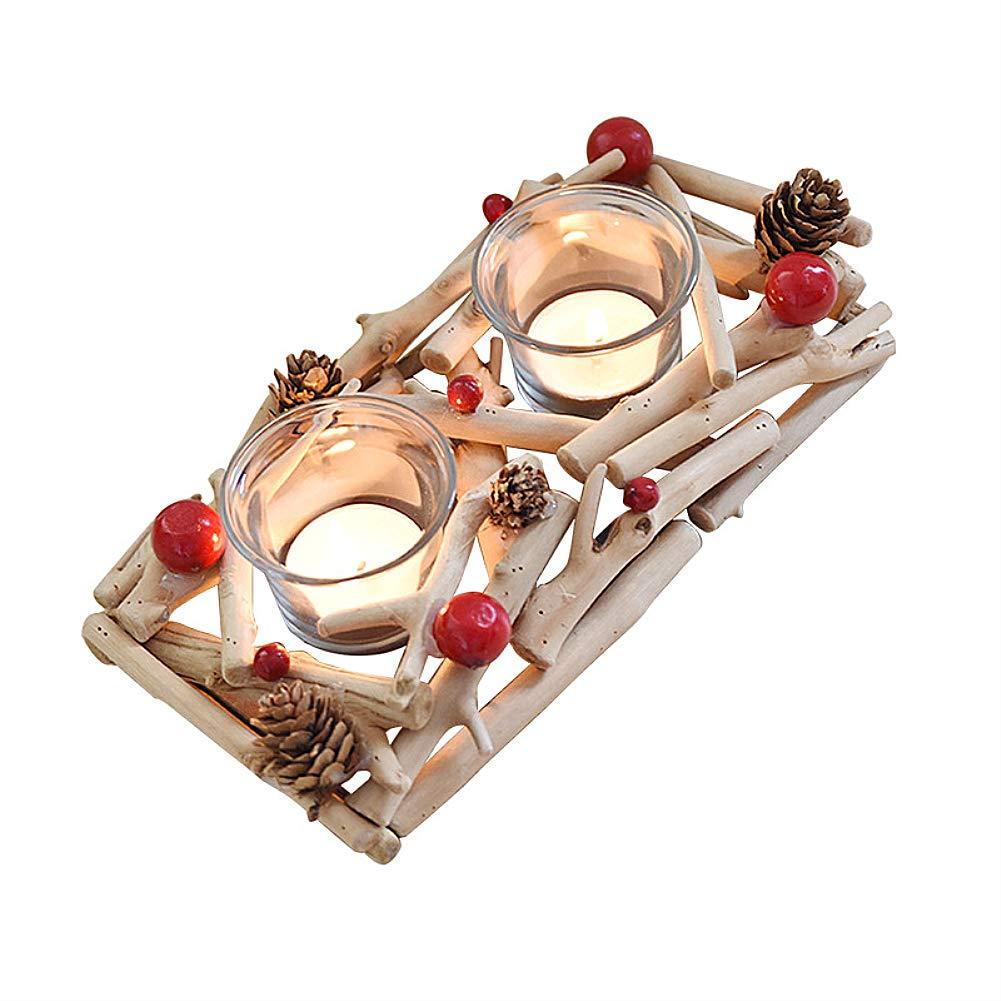 CATLXC Kerzenhalter Aus Holz - Tannenzapfen Und Beeren Elemente Teelichthalter - Weihnachtselemente Kerzenständer - Romantischer Kerzenleuchter,Rectangle