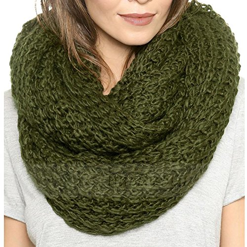 HH HOFNEN Women Solid Knit Infinity Scarf Soft Warm Scarves Thick Knitted Winter Warm Infinity Scarf (olive green)