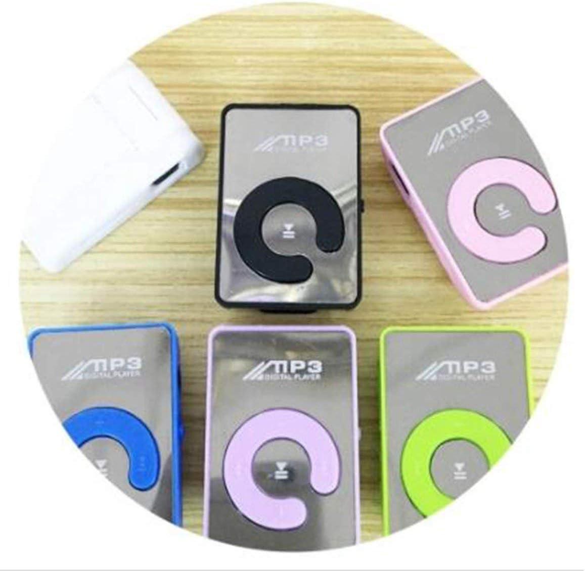 Funnyrunstore Mini Mirror Clip Lettore MP3 Moda portatile Sport USB Lettore musicale digitale Micro SD TF Card Media Player Verde