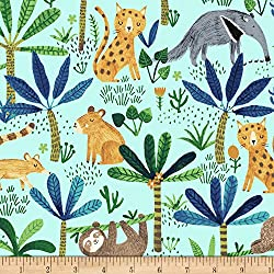 Clothworks Fever Jungle Animals Light Turquoise Fabric by The Yard