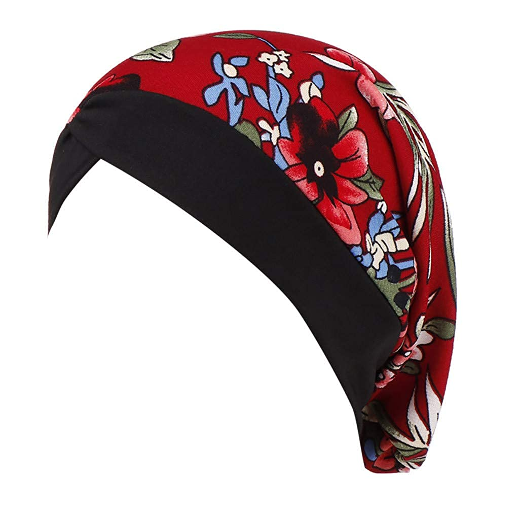 uBabamama Soft Stretch Floral Print Hat Ruffle Cap Cover Hair Loss Women Cancer Chemo Hat Beanie Hat Turban Head Wrap Cap for Muslim