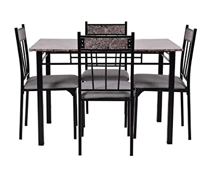 Wakrays 5 Pc Faux Marble Dining Set Table And 4 Chairs Kitchen Breakfast  Furniture