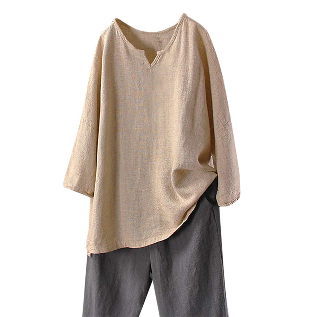 Lmx+3f Plus Size Women Casual Solid Linen Tops Shirt V-Neck Oversize Long Sleeve Cotton Blouse Tops Only Khaki Black