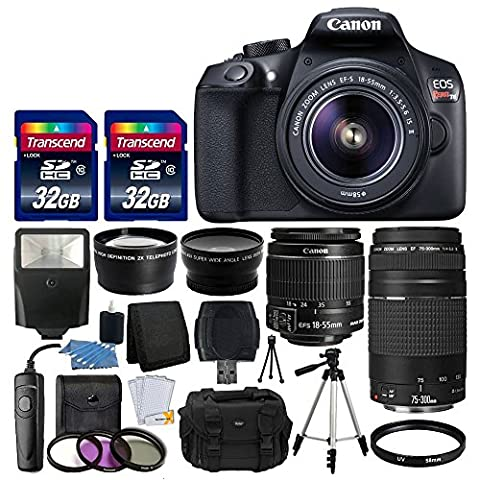 Canon EOS Rebel T6 Digital SLR Camera + Canon 18-55mm EF-S f/3.5-5.6 IS II Lens & EF 75-300mm f/4-5.6 III Lens + Wide Angle Lens + 58mm 2x Lens + Slave Flash + 64GB Card + Wired Remote + Valued (Camera T5i Bundle)