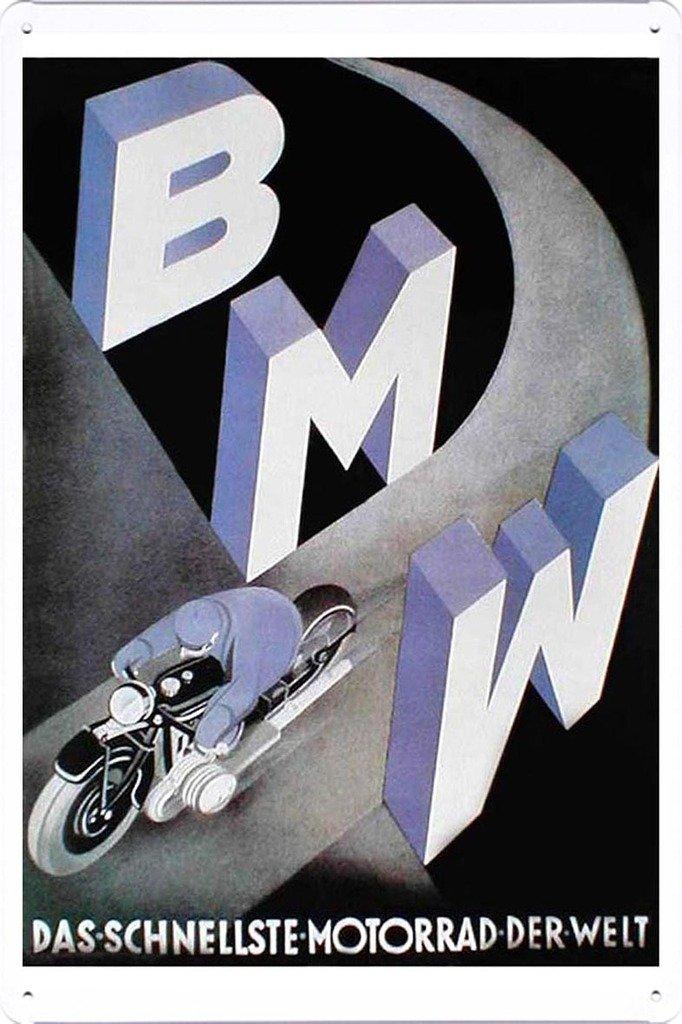Abstract Sign BMW Das Schnellste Motorrad Derwelt 7.8x11.8 Tin Poster Metal Plate Wall Decor
