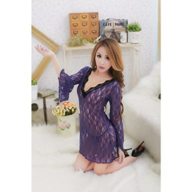 e57ca7487957 Spearss Sexy Women See-through Lingerie Chemise Floral Nightgowns Outfits  Purple