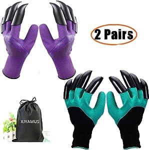 Garden Genie Gloves, Waterproof Garden Gloves with Claw For Digging Planting, Best Gardening Gifts for Women and Men. (Purple-Green)