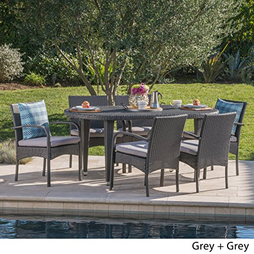 Christopher Knight Home Bunny Outdoor 7 Piece Grey Wicker Oval Dining Set with Grey Water Resistant Cushions
