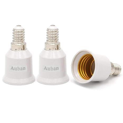 Adaptador de Casquillo E14 a E27 para Bombilla LED Halógena de Ahorro de Energía Convertidor de
