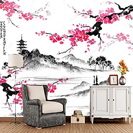 Yosot Paesaggio Giapponese 3d Carta Da Parati Con Rami Sakura Retro