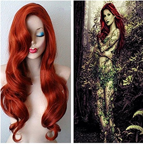 [Longlove Copper Red Hair Female Cartoon Character Halloween Masquerade Playing Game Big Wave Wig] (Jessica Rabbit Wig)
