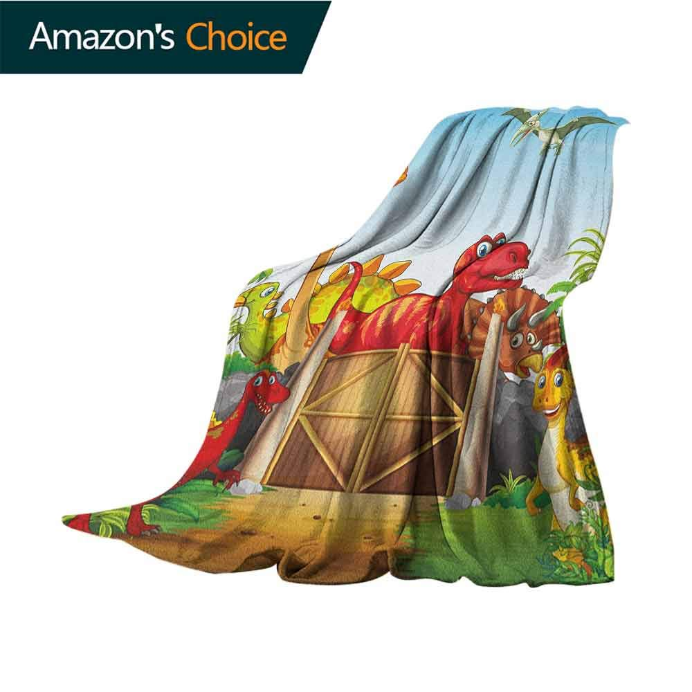 Kids Wearable Blanket,Cartoon Style Cute Dinosaurs in a Dino Park Jungle Trees Wildlife Habitat Illustration Lightweight Microfiber,All Season for Couch or Bed,70'' Wx90 L Multicolor
