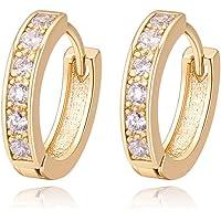 Oro Blanco Chapado Aretes con Diamante con Zirconia Cúbica, Pendientes de Aro, Hoop Earrings para Mujeres