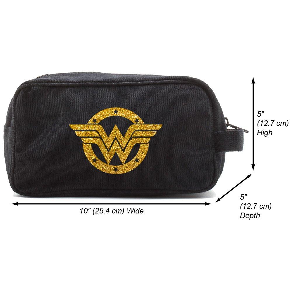 Wonder Woman Logo Canvas Shower Kit Travel Toiletry Bag, Black & Glitter Gold