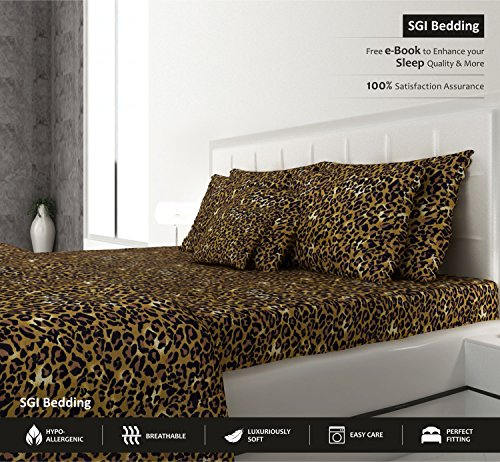 SGI bedding KING SIZE SHEETS LUXURY SOFT 100% EGYPTIAN COTTON - Sheet Set for KING Mattress LEOPARD PRINT 600 Thread Count Deep Pocket - Leopard Print Bedding Set