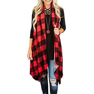 Ivay Womens Plaid Open Front Cardigan Sleeveless Drape Lightweight Vest Coat with Pockets at Women's Clothing store