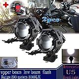 GOODKSSOP 2pcs Super Bright 3000LM CREE U5 125W LED Motorcycle Universal Headlight Work Light Driving Fog Spot Lamp Night Safety Headlamp + 1pcs Switch (Black)
