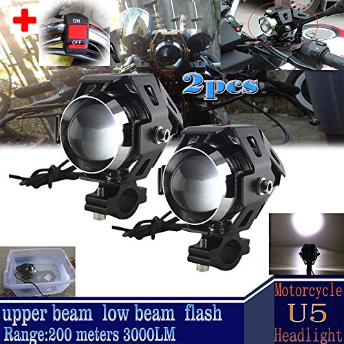 GOODKSSOP 2pcs Super Bright 3000LM CREE U5 125W LED Motorcycle Universal Headlight Work Light Driving Fog Spot Lamp Night Safety Headlamp + 1pcs Switch (Black)