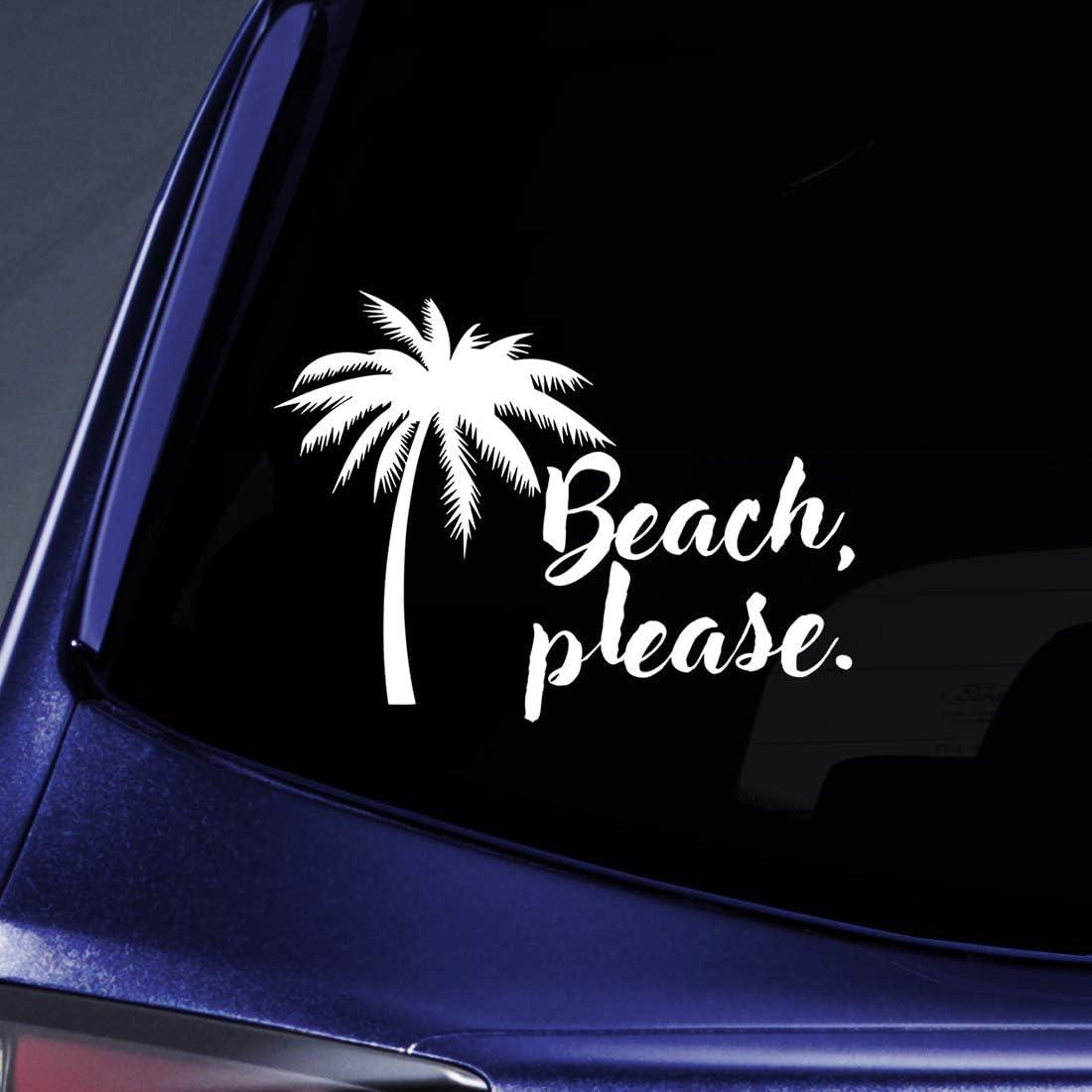 "Bargain Max Decals Beach, Please Sticker Decal Notebook Car Laptop 5.5"" (White)"