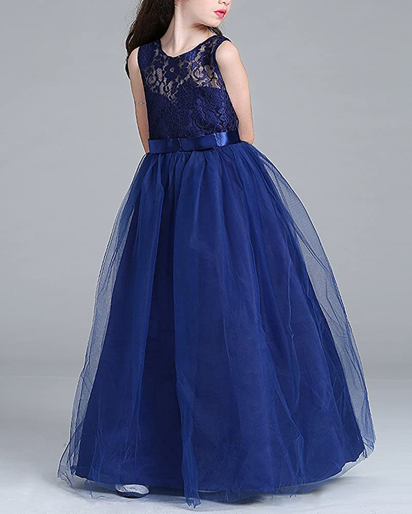 5d2f97bd3652 Kids Girls Wedding Pageant Bridesmaid Dresses Children Sleeveless ...