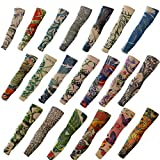 20PCS Set Arts Fake Temporary Tattoo Arm Sunscreen Sleeves - AKStore - Designs Tiger, Crown Heart, Skull, Tribal and Etc