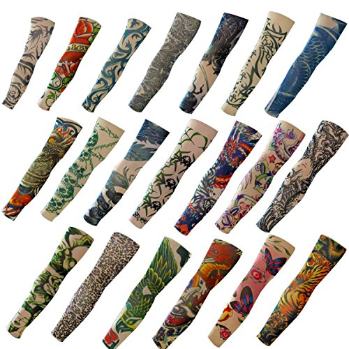 20PCS Set Arts Fake Temporary Tattoo Arm Sunscreen Sleeves - AKStore - Designs Tiger, Crown Heart, Skull, Tribal and -