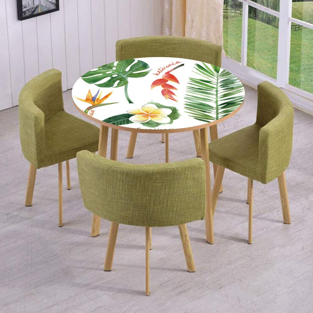 iPrint Round Table/Wall/Floor Decal Strikers/Removable/Bird of Paradise Palm Leaf and Assorted Exotic Flowers Watercolor Decorative/for Living Room/Kitchens/Office Decoration