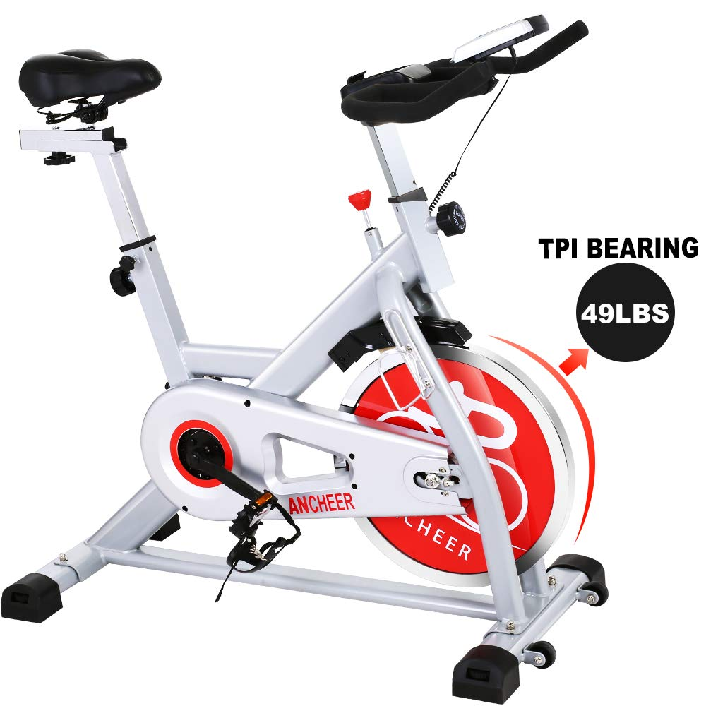 ANCHEER Stationary Exercise Bike - Indoor Cycling Bikes Belt Drive with 49LBS Chromed Flywheel, LCD Display for Home Cardio Training Machine, 330 LB Max Weight by ANCHEER