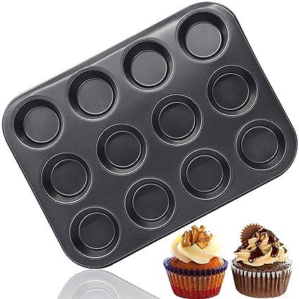BESYZY Set de 1 moldes de horno para 12 Magdalenas y Muffins Acero al Carbono con