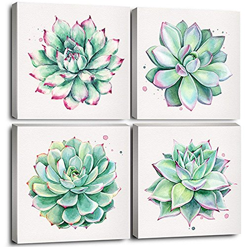 "Home Wall Art Décor Succulent Plants Simple Life Canvas Oil Paintings Posters Prints 12"" x 12"" 4 Pieces Watercolor Hand-Drawn Green Leaf Framed Nature Pictures for Living Room Kitchen Decorations"
