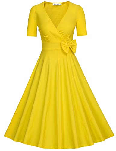 JUESE Women's Vintage 1950's Deep V-Neck Prom & Homecoming Cocktail Swing Dress