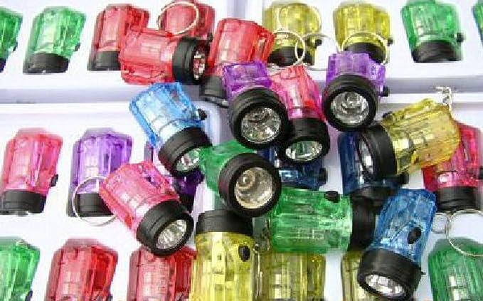 Hillfield/® 12 x Schl/üsselanh/änger Taschenlampe Lampe 6 cm Bunt 1 - Pack = 12 St/ück