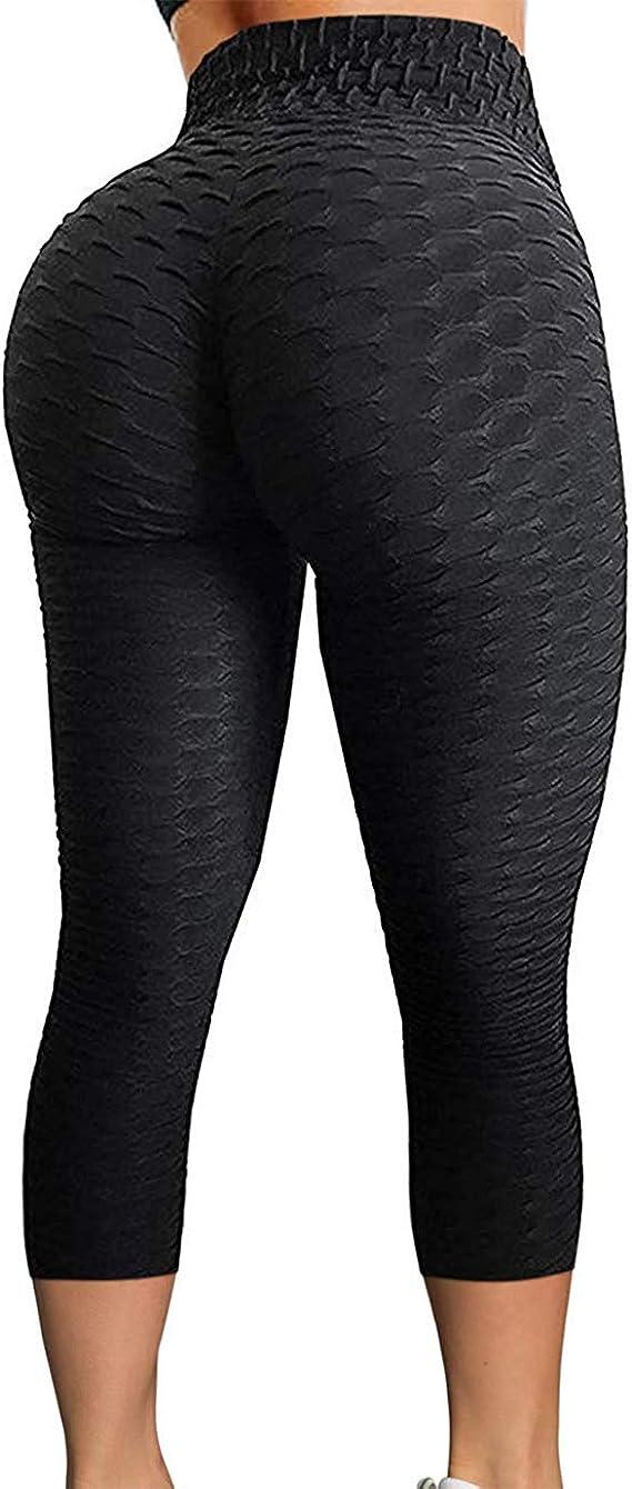 Women Anti Cellulite Leggings Yoga Pants Ruched Butt Lift Sports Scrunch Trouser