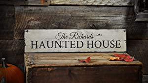 Tamengi Haunted House Sign, Halloween Sign, Halloween Wall Home Decor, Haunted House Sign, Halloween Home Decor - Rustic Hand Made Halloween Wooden Home Decoration,Produced in The U.S.