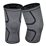 Lonew Compression Knee Sleeve, Best Knee Brace Support for Sports, Running, Jogging, Basketball, Joint Pain Relief, Arthritis and Injury Recovery&More, Men and Women (2 Piece)