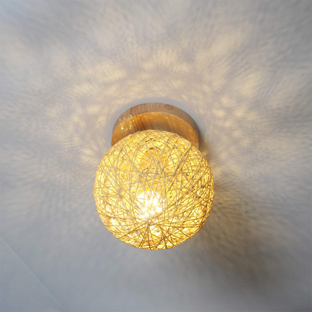 Keby Abat-jour pour plafonnier moderne Boule de chanvre en bois massif Lampe de plafond Industrielle Suspension Luminaire D/écoration Veilleuse Vintage