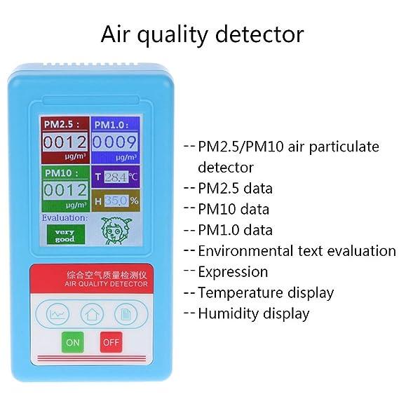 OTGO PM1.0 PM 2.5 PM10 - Analizador de Gas (9 Tipos de detectores de Partículas, Monitor de Calidad de Aire con Temperatura de Humedad): Amazon.es: Hogar