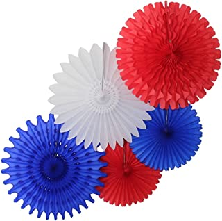 product image for 5-Piece Tissue Paper Fans, Red White Blue Party