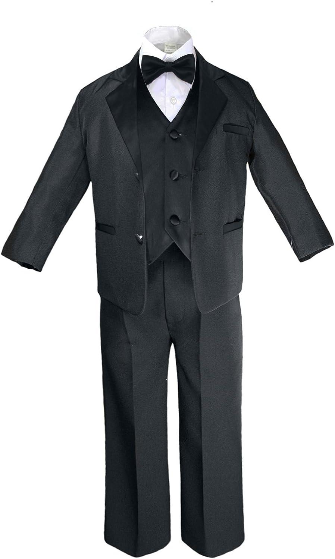 Unotux 7pc Formal Boy Black Yellow Suit Tuxedo Bow Tie Vest Set S-20