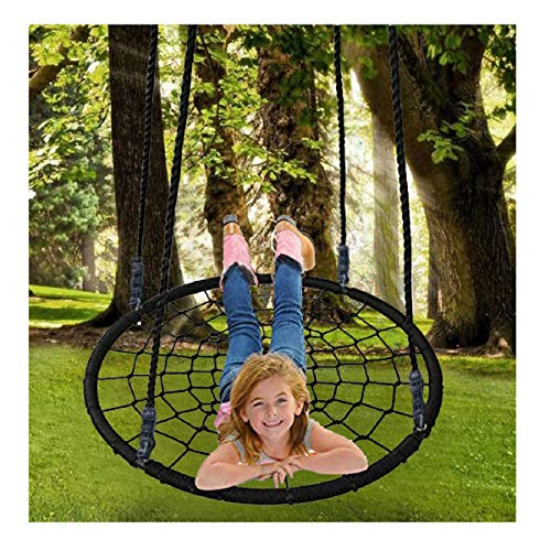 - Hopeg Kids boy Girl Child Baby Summer USA Outdoor Game Gift, Saucer Tree Garden Forest Flying Adjustable Multi-Strand Ropes Round net Easy to Install Colorful and Safety Swing (A)